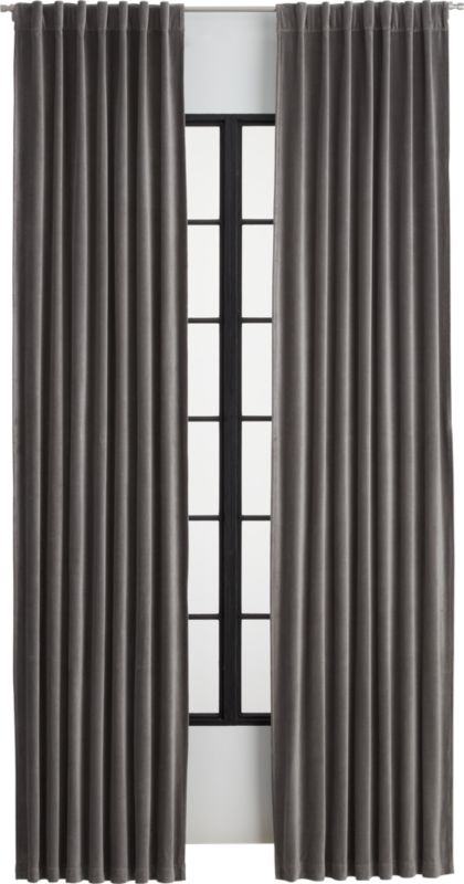 Velvet Graphite Curtain Panel Cb2