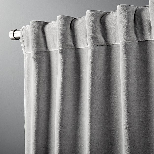 "velvet graphite curtain panel 48""x120"""