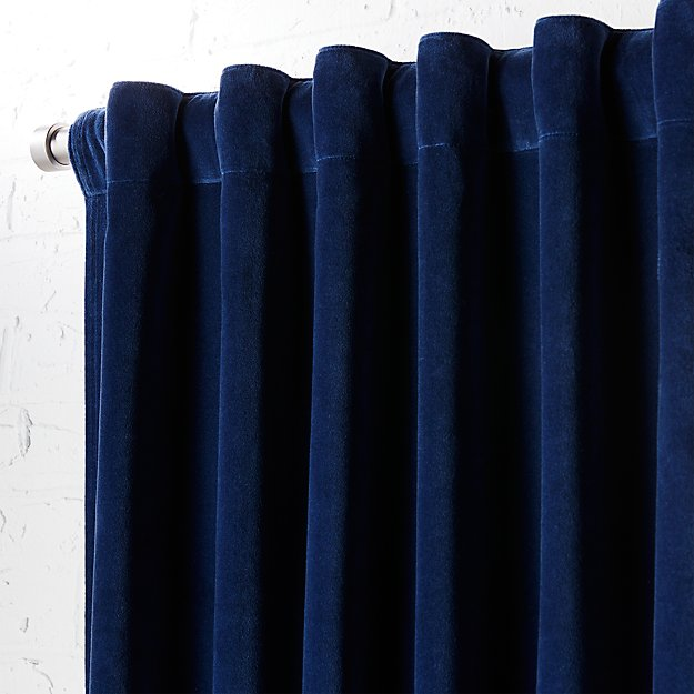 "velvet navy curtain panel 48""x96"""