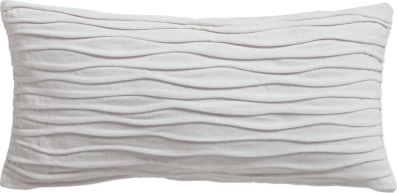 "velvet twist brite white 23""x11"" pillow with feather-down insert"