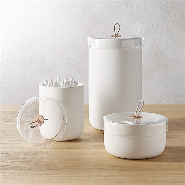 Ventura White Ceramic Canisters Cb2