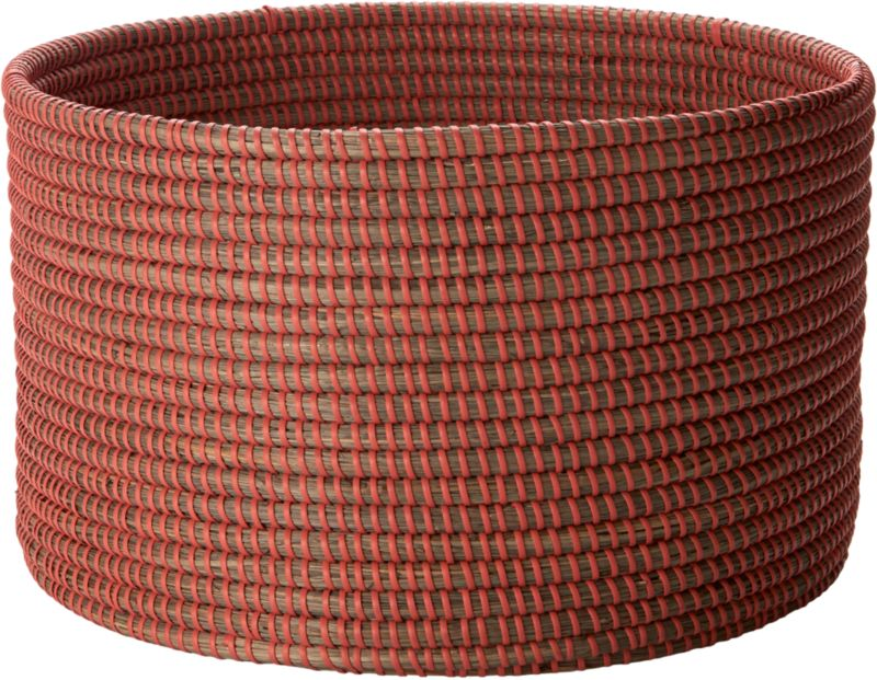 "<span class=""copyHeader"">graphic sea grass.</span> Handmade coiled cylinder rounds out a natural spot to store blankets, towels, odds and ends. In a time-intensive process, bundles of sea grass are woven with orange plastic cord to graphic effect, creating an organic grid of mini vertical stripes. Comes full circle with vertical stripe small mint basket.<br /><br /><NEWTAG/><ul><li>Handmade</li><li>Sea grass with orange plastic cord</li><li>Wipe clean with dry cloth</li><li>Keep dry</li></ul>"