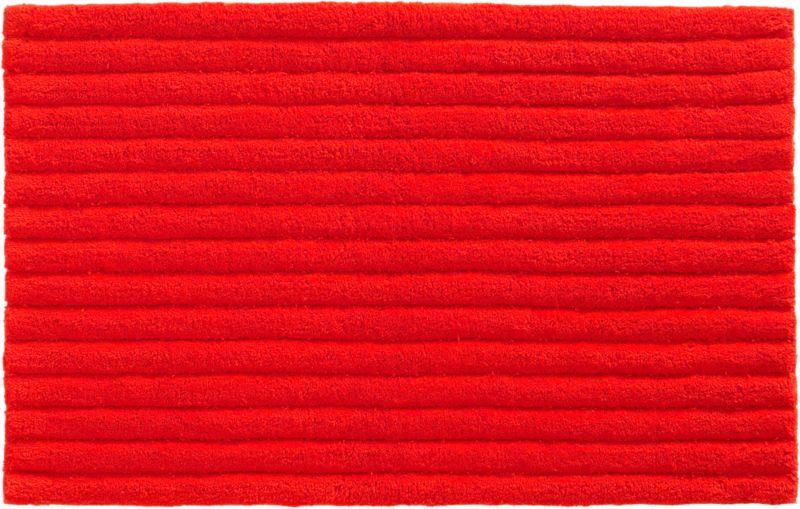 vertical stripe red-orange bath rug