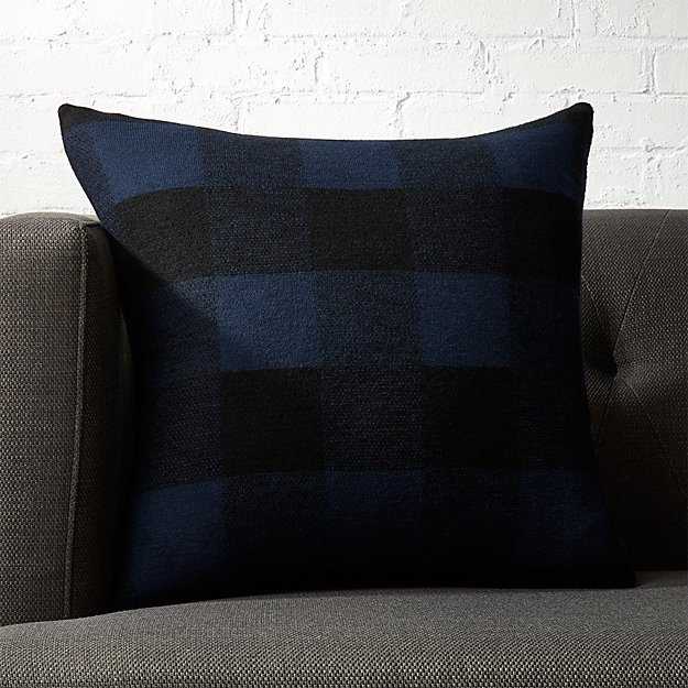 "18"" Victor Blue and Black Plaid Pillow"