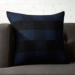 "18"" Victor Blue and Black Plaid Pillow with Down-Alternative Insert"