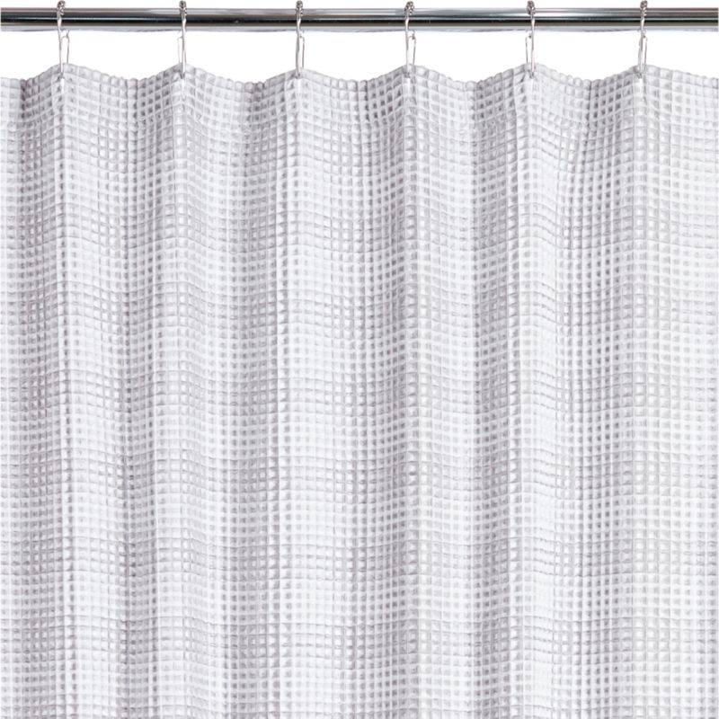 White and Grey Waffle Weave Shower Curtain Reviews CB2
