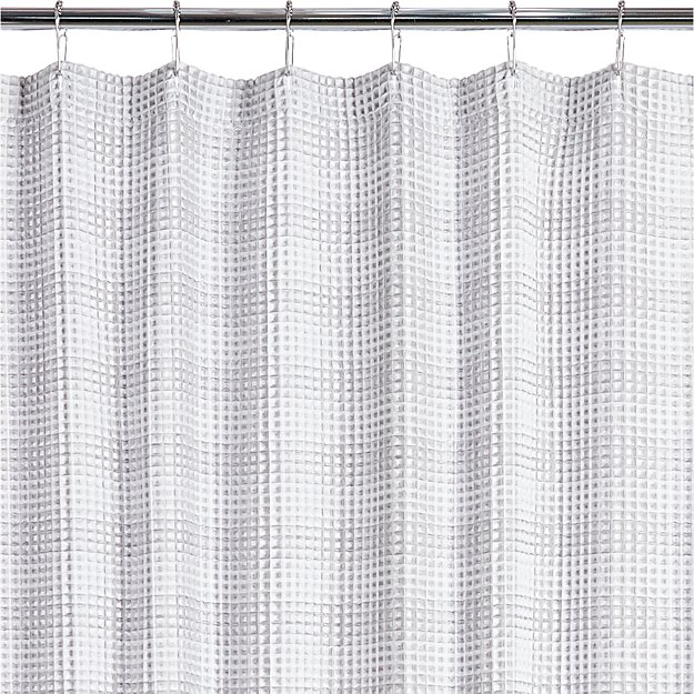 White Waffle Weave Shower Curtain | CB2