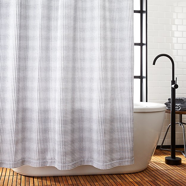 White And Grey Waffle Weave Shower Curtain In Curtains