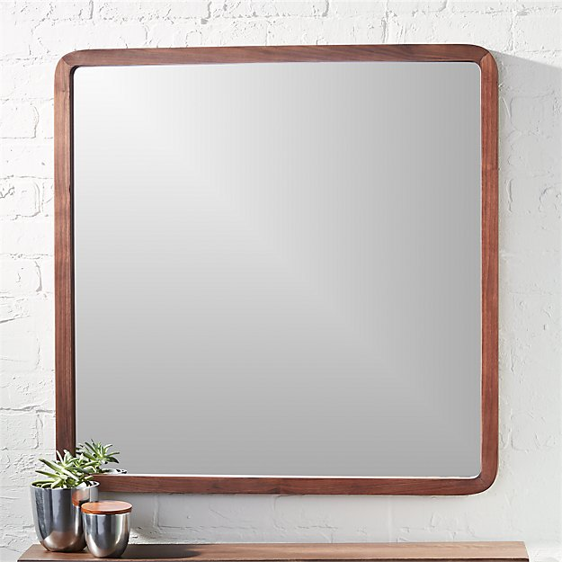 walnut bathroom mirror walnut 30 quot square wall mirror cb2 15014