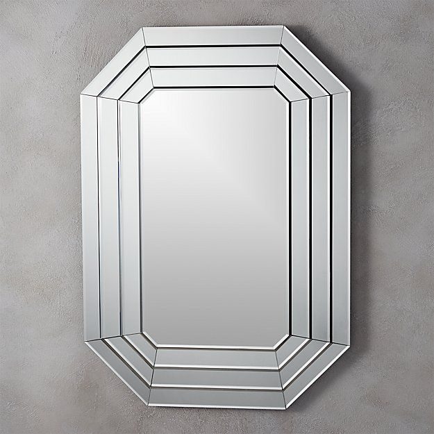 Beveled Wall Mirror warren beveled octagon wall mirror | cb2