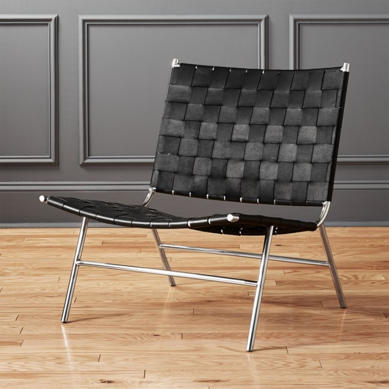 modern leather lounge chairs CB2