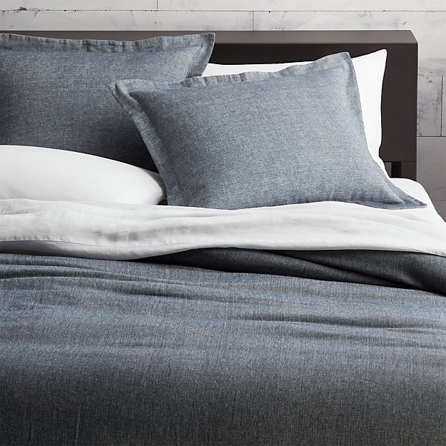 Weekendr Blue Chambray Full Queen Duvet Cover In Bedding
