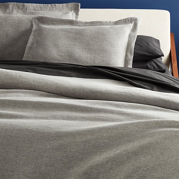 weekendr graphite chambray full/queen duvet cover