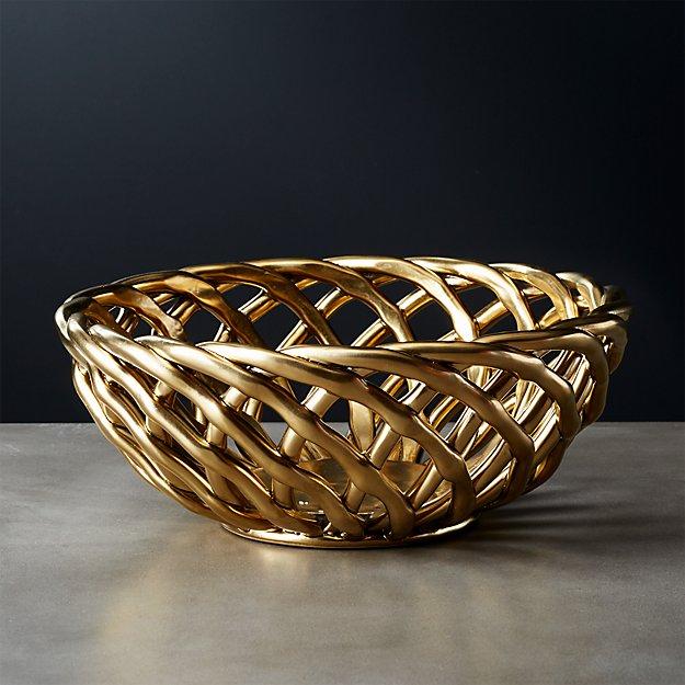 Gold Decorative Bowl Fair Weft Matte Gold Fruit Basket  Cb2 Decorating Inspiration