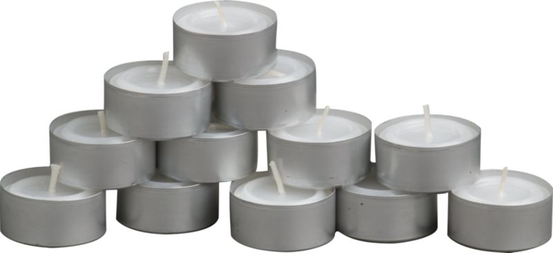 set of 12 aluminum-cupped tealight candles