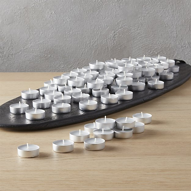 set of 100 aluminum-cupped tea light candles