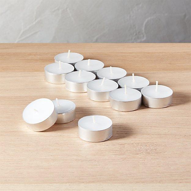 set of 12 aluminum-cupped tea light candles