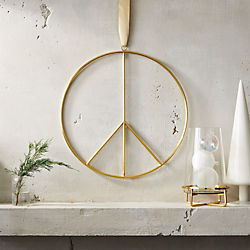 Brushed Brass Wire Peace Wreath