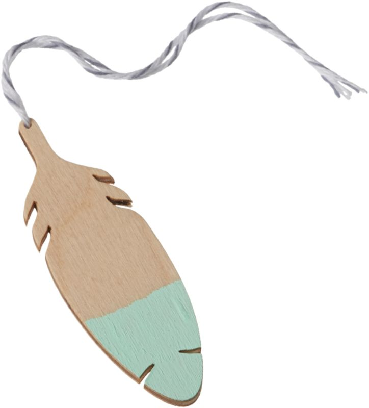 """<span class=""""copyHeader"""">flock to it.</span> Made in the USA of handpainted balsa wood, mint-tipped feather ties a folksy touch to the tree or gift.<br /><br /><NEWTAG/><ul><li>Handpainted balsa wood with string</li><li>Fun as an ornament or gift tag</li></ul>"""