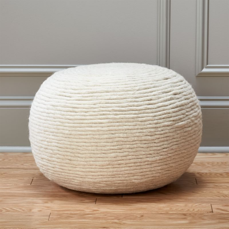 Wool White Pouf In Poufs Reviews Cb2