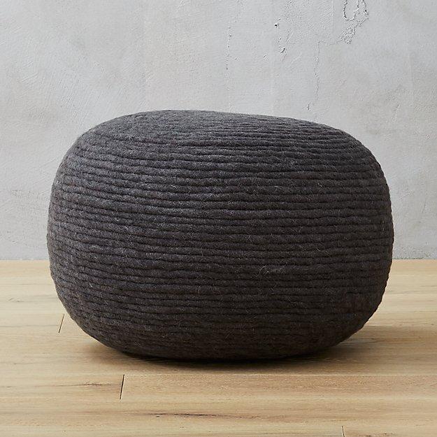 Wool Wrap Grey Pouf