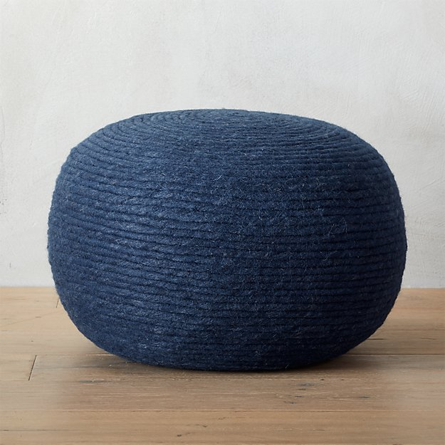 wool wrap navy pouf cb2. Black Bedroom Furniture Sets. Home Design Ideas