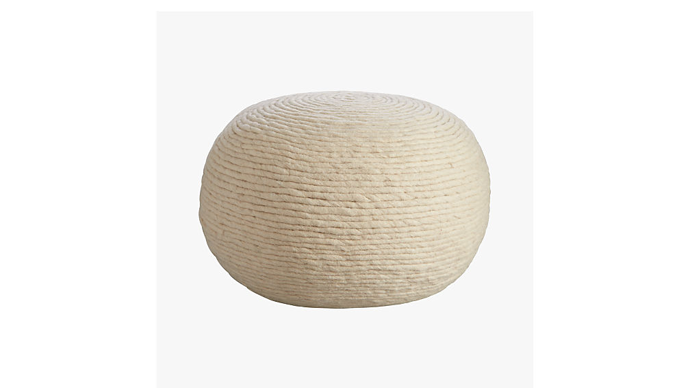 Wool white pouf cb2 - Design pouf ...