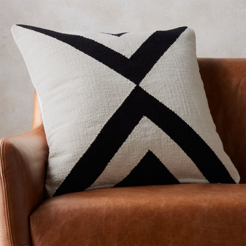 23 Quot Xbase Black And Ivory Pillow Cb2