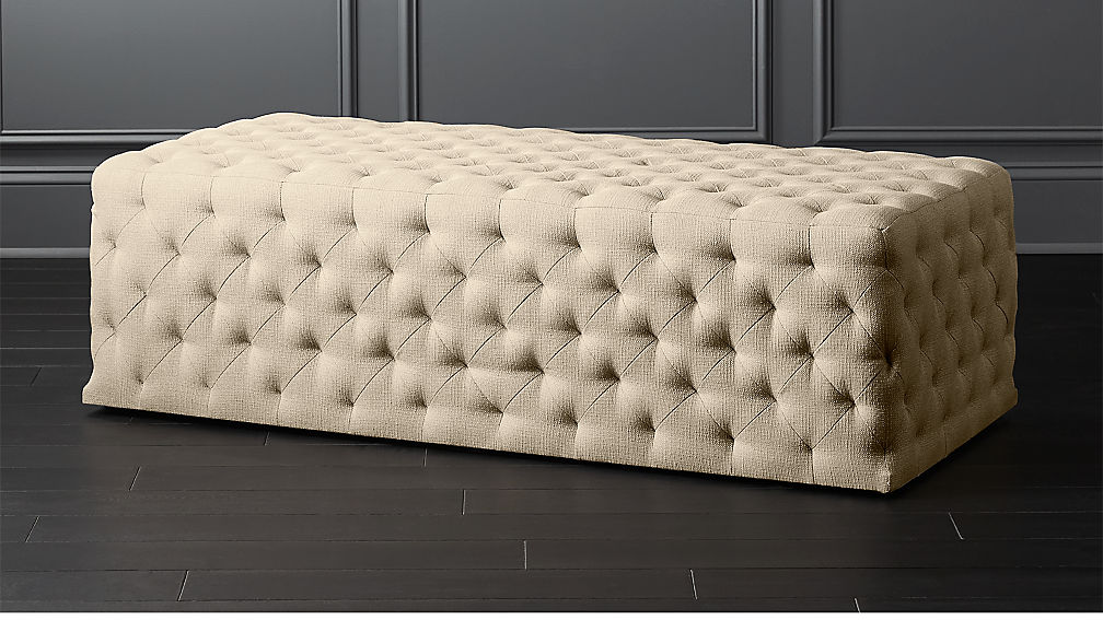 Extra Large Rectangular Natural Tufted Ottoman Reviews Cb2