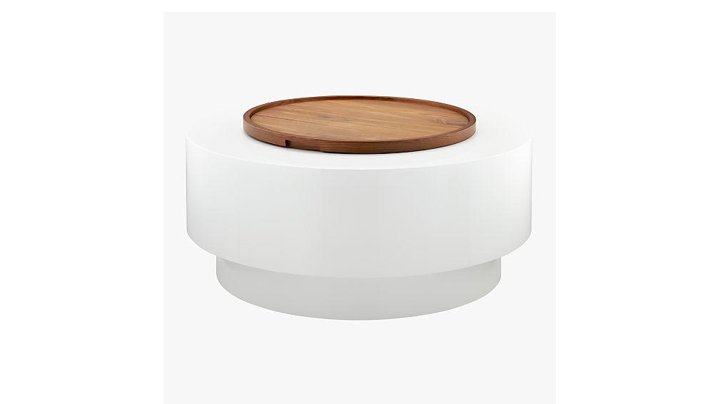Ya ya round storage coffee table cb2 for Cb2 round coffee table