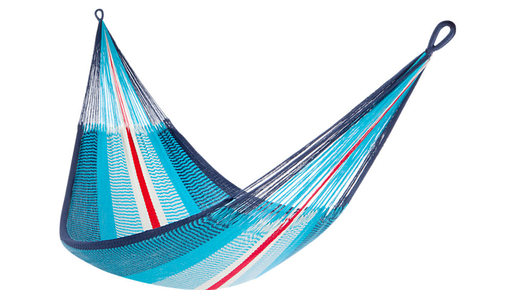 yellow leaf blue-red hammock with straps