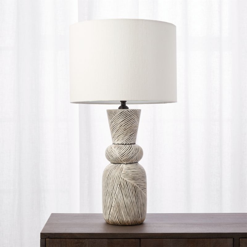 Ziggy black and white striped table lamp cb2 aloadofball Images