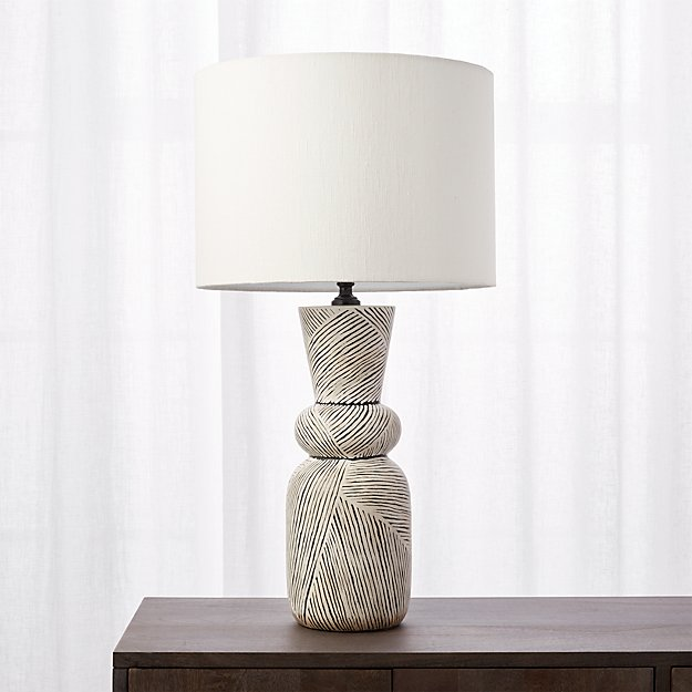 Ziggy Black And White Striped Table Lamp