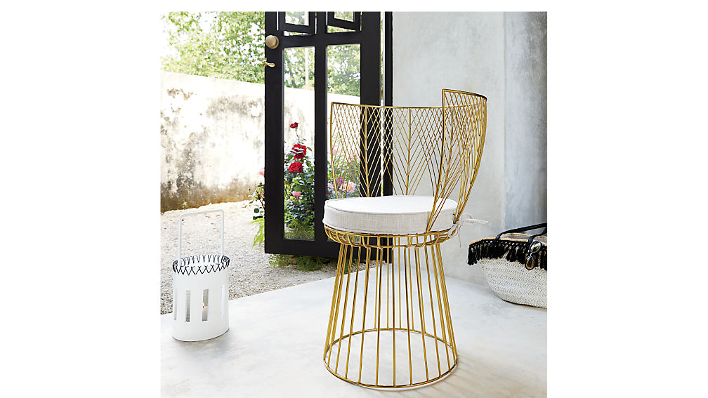 alexandria metal gold chair with natural cushion