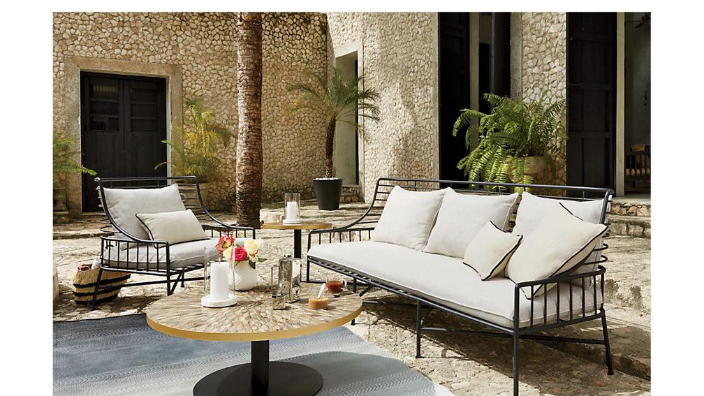 Breton Black Metal Sofa In Outdoor Furniture Reviews Cb2