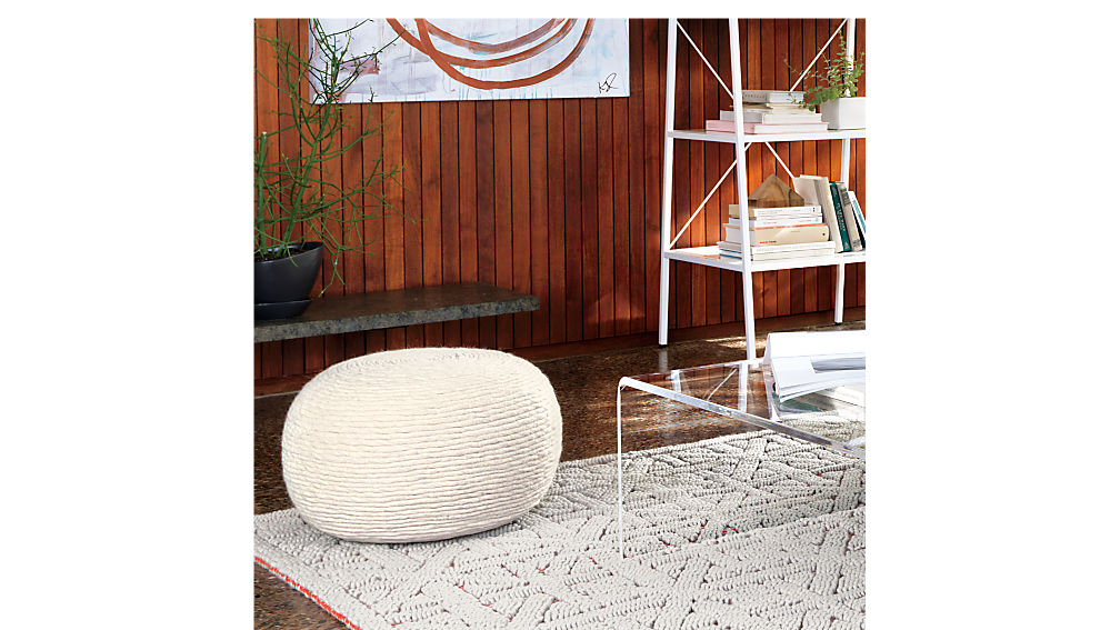wool wrap natural pouf