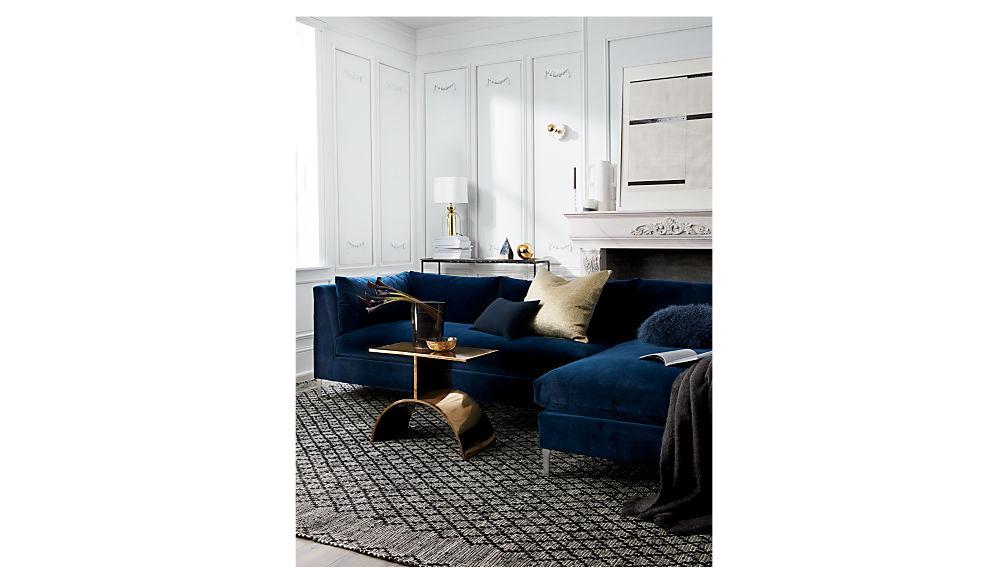 Decker 2 piece navy blue velvet sectional sofa cb2 for Decker 2 piece sectional sofa