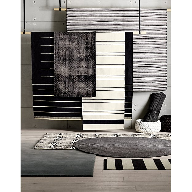 Black With White Stripe Rug 8 X10 Reviews Cb2