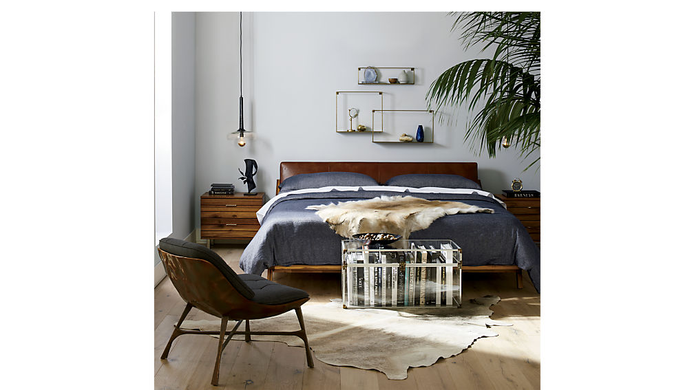 Drommen Acacia Bed With Leather Headboard Cb2
