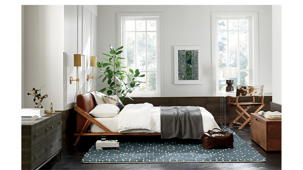 Drommen Acacia Queen Bed With Leather Headboard Cb2