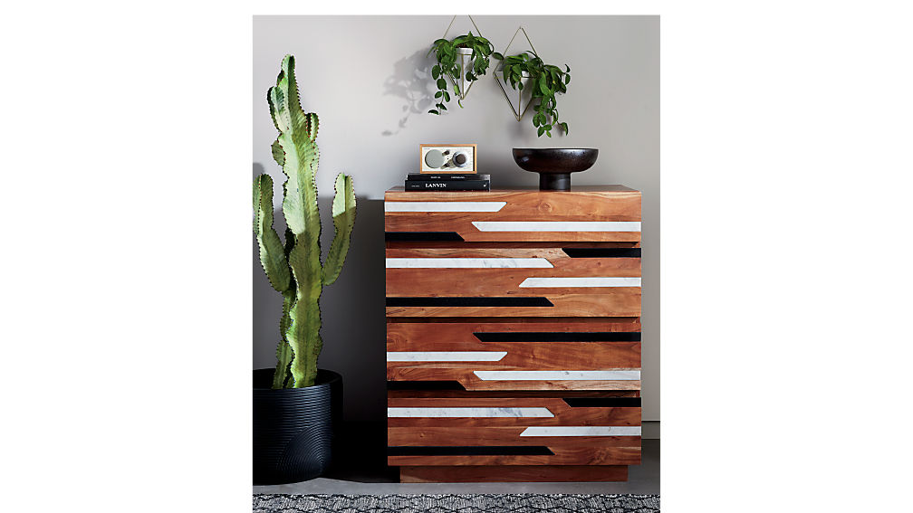 Edie Marble Inlay Tall Chest