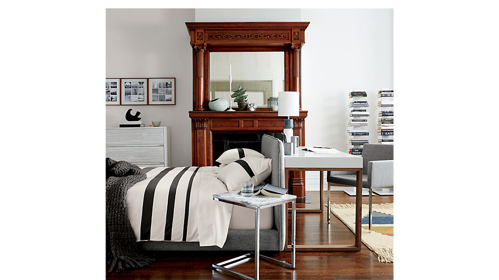 Facade Grey Upholstered Bed Cb2