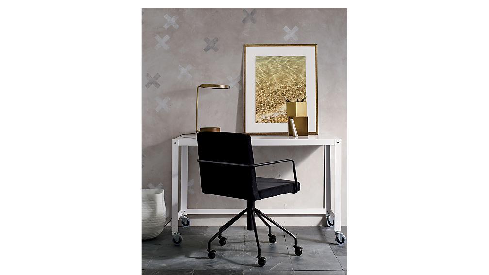 go cart white rolling desk in office furniture reviews cb2. Black Bedroom Furniture Sets. Home Design Ideas