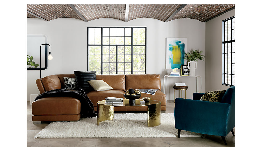 gybson 4-piece cognac leather sectional sofa