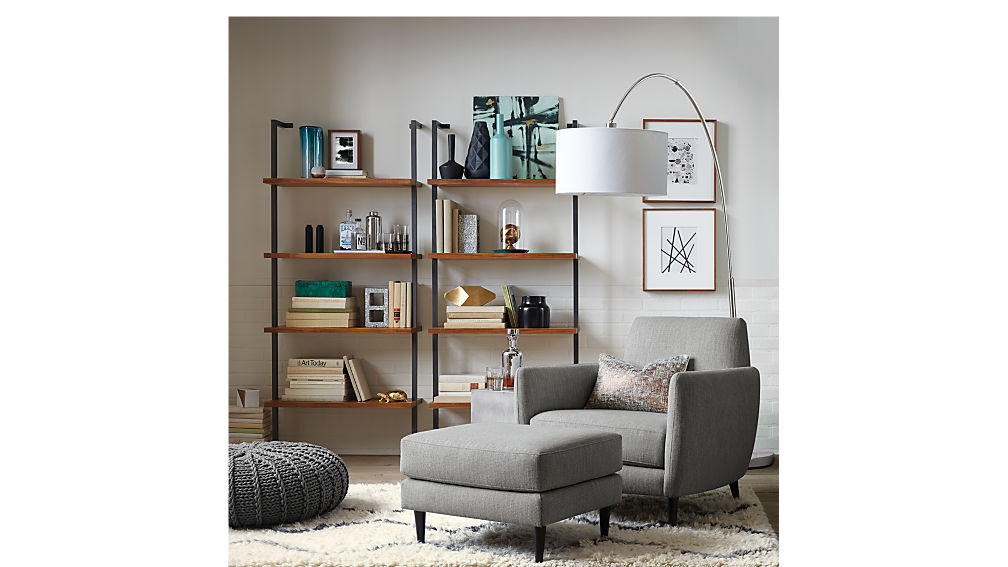 Helix Acacia Wall Mounted Bookcase Cb2