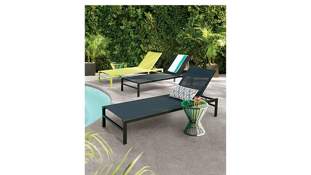 idle black outdoor chaise lounge