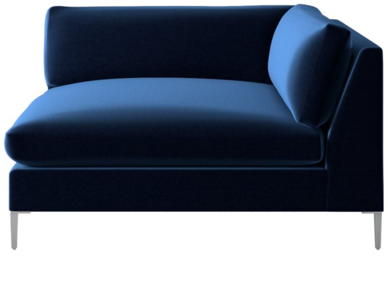 Decker right arm blue velvet chaise cb2 for Blue velvet chaise