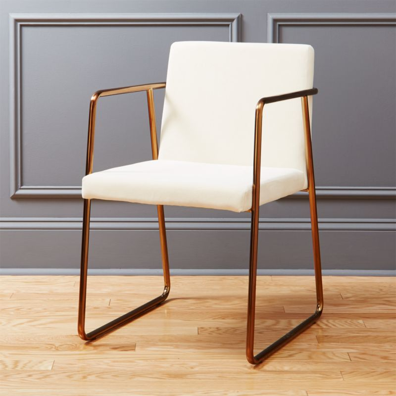 Charming Rouka White Velvet And Brass Chair | CB2