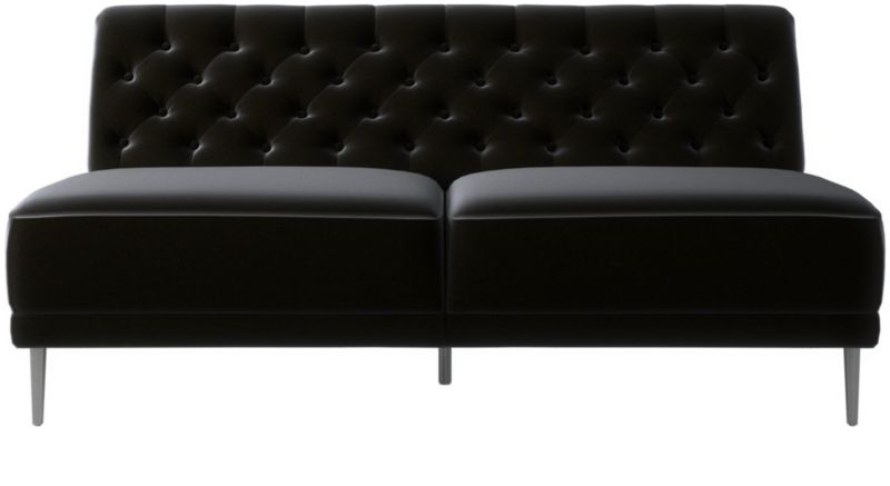 Savile Charcoal Tufted Armless Sofa + Reviews | CB2