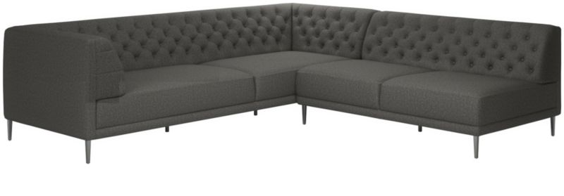 Savile Gris Tufted Sectional Sofa by Crate&Barrel